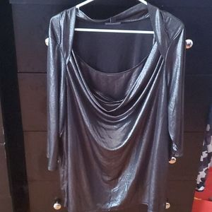 black metallic dressy blouse